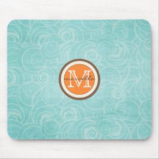 Soft Blue Circle Pattern Orange Monogram Mouse Pads