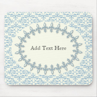 Soft blue damask flower name pattern mouse pad