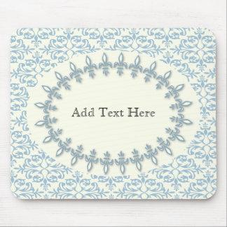 Soft blue damask flower name pattern mouse pad