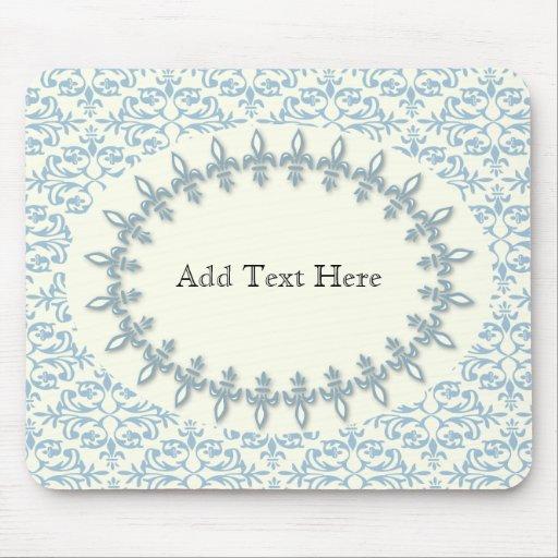 Soft blue damask flower name pattern mousepads