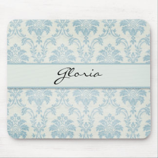Soft Blue Damask With White Label Mouse Pad