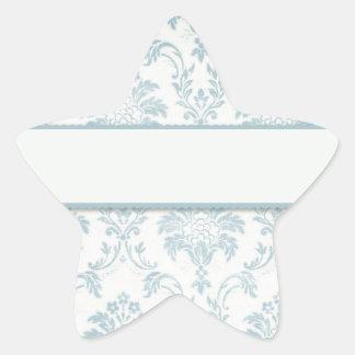 Soft Blue Damask With White Label Star Sticker