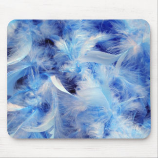 Soft Blue Feather Boa Mouse Pads