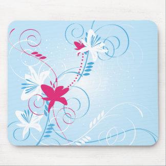 Soft Blue Floral Mouse Pad