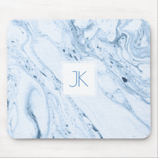 Soft Blue-Gray & White Modern Marble Swirls Mouse Mat
