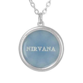 "Soft Blue ""Nirvana"" Lighted Patterns Round Pendant Necklace"