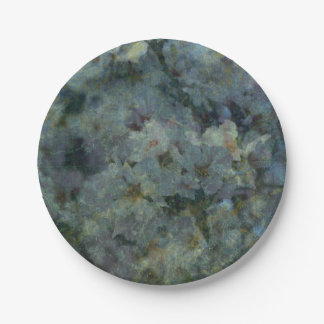 Soft Blue Orchard impressionist paper plates 7 Inch Paper Plate