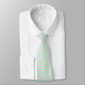 Soft Blue, Pink and Green Stripes Tie