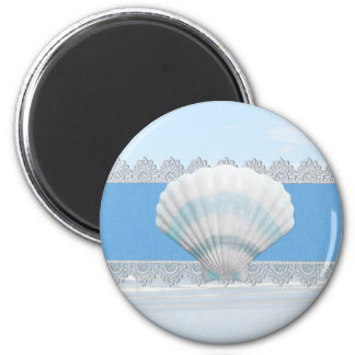 Soft Blue Seashell And Lace 6 Cm Round Magnet