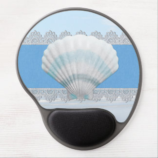 Soft Blue Seashell And Lace Gel Mouse Mat