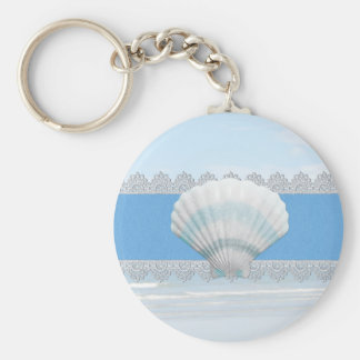 Soft Blue Seashell And Lace Key Ring