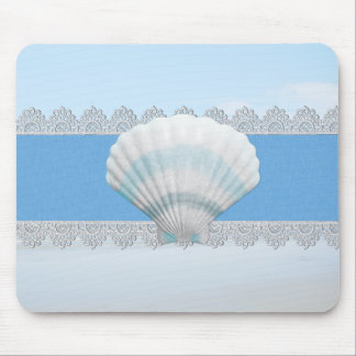 Soft Blue Seashell And Lace Mouse Pad