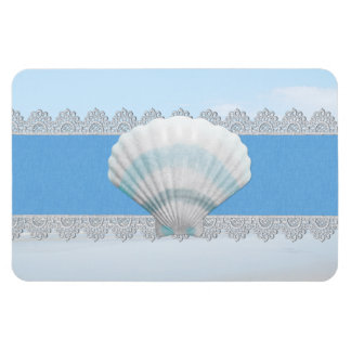 Soft Blue Seashell And Lace Rectangular Photo Magnet