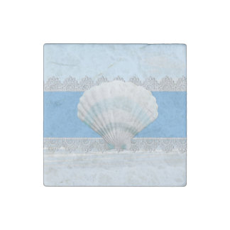 Soft Blue Seashell And Lace Stone Magnet