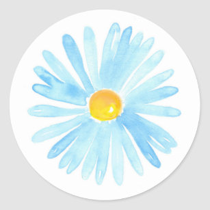 Soft Blue Watercolor Aster Classic Round Sticker