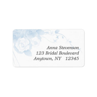 Soft Blue Watercolor Floral Label Address Label