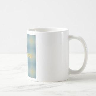 "Soft Blue Yellow Pattern "" Enlightened"" Zen Coffee Mug"