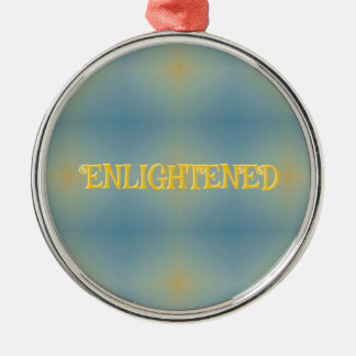 "Soft Blue Yellow Pattern "" Enlightened"" Zen Silver-Colored Round Decoration"