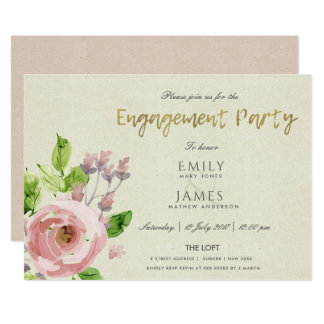 SOFT BLUSH PINK WATERCOLOUR FLORAL ENGAGEMENT CARD