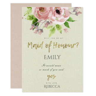 SOFT BLUSH PINK WATERCOLOUR FLORAL MAID OF HONOUR CARD
