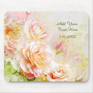 Soft Blush Watercolor Rose Floral Mouse Pad
