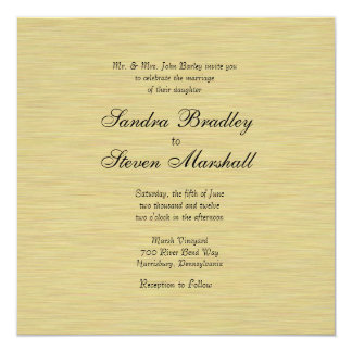 Soft Brushed Gold 13 Cm X 13 Cm Square Invitation Card