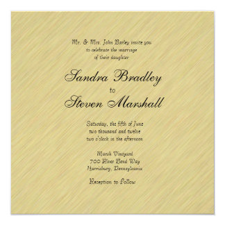 Soft Brushed Gold Wedding 13 Cm X 13 Cm Square Invitation Card
