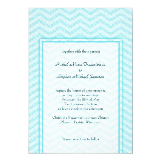 Soft Chevron Aqua Blue Wedding Custom Budget Card