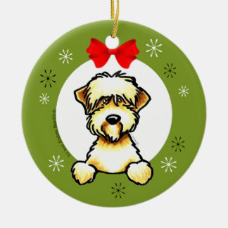 Soft Coated Wheaten Terrier Christmas Classic Round Ceramic Decoration