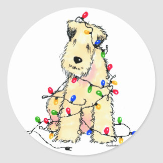 Soft Coated Wheaten Terrier - Christmas Classic Round Sticker