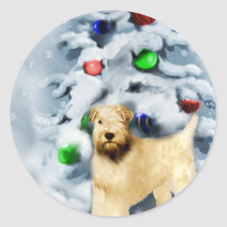 Soft Coated Wheaten Terrier Christmas Round Sticker