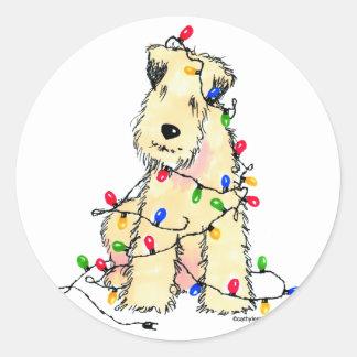 Soft Coated Wheaten Terrier - Christmas Round Sticker