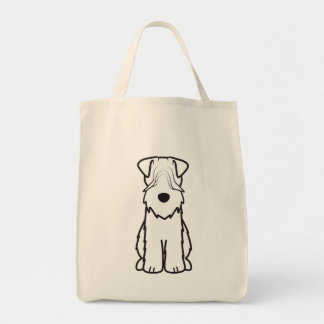 Soft Coated Wheaten Terrier Dog Cartoon Grocery Tote Bag