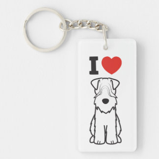Soft Coated Wheaten Terrier Dog Cartoon Key Ring