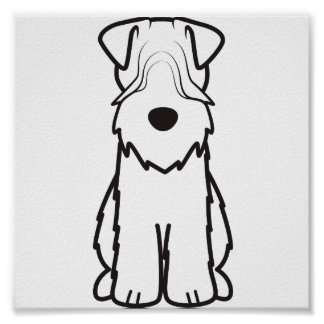 Soft Coated Wheaten Terrier Dog Cartoon Poster