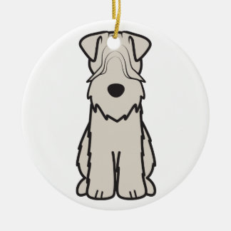 Soft Coated Wheaten Terrier Dog Cartoon Round Ceramic Decoration