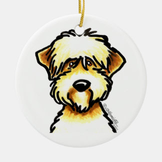 Soft Coated Wheaten Terrier Face Personalized Round Ceramic Decoration