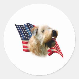 Soft Coated Wheaten Terrier Flag Round Sticker