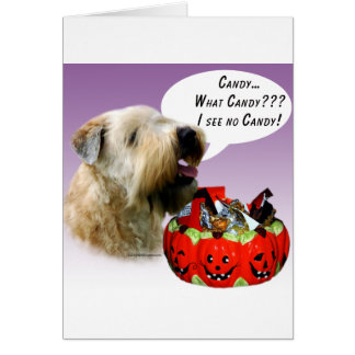 Soft Coated Wheaten Terrier Halloween Candy Card