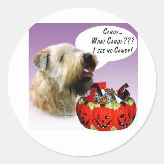 Soft Coated Wheaten Terrier Halloween Candy Round Sticker