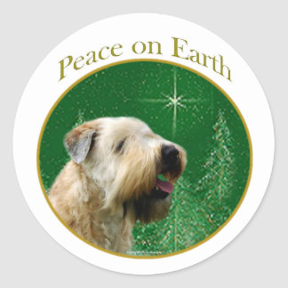 Soft Coated Wheaten Terrier Peace Classic Round Sticker