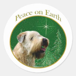 Soft Coated Wheaten Terrier Peace Round Sticker