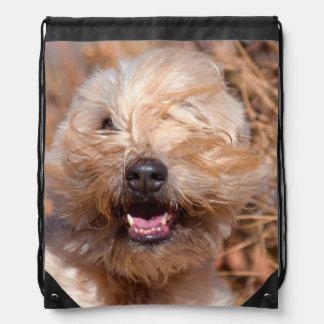 Soft Coated Wheaten Terrier portrait Drawstring Bag