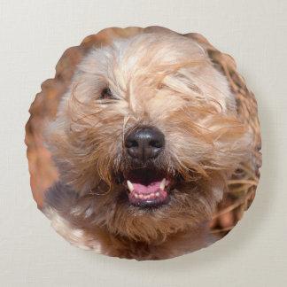 Soft Coated Wheaten Terrier portrait Round Cushion