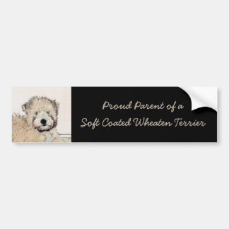 Soft-Coated Wheaten Terrier Puppy Painting Dog Art Bumper Sticker