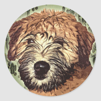 Soft-Coated Wheaten Terrier Puppy with Wet Face Round Sticker