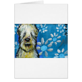 Soft Coated Wheaten Terrier smile daisies Card