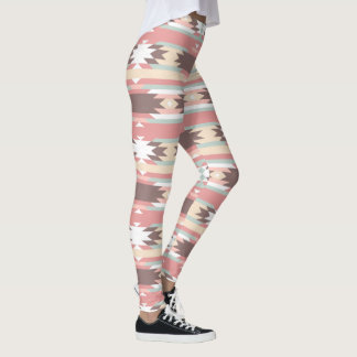 Soft color tribal abstract pattern leggings