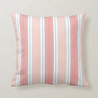 Soft Coral & Aqua on White Shabby Chic Stripes Cushion