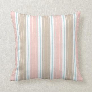 Soft Coral Aqua & Tan on White Shabby Chic Stripes Cushion